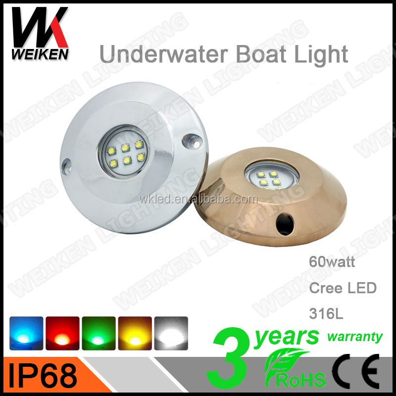 CE ROHS Certification IP68 Led Lamp Type 60W Marine Pool Boat Light