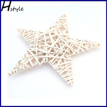Wholesale White Wicker star ,Christmas Decoration,Made From Waste Material SD050