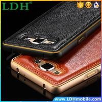 Mobile Phone Case For Samsung Galaxy A5 Dual Color PU Leather + Aluminum Metal Frame Case Cover For Samsung Galaxy A5 A500 A500F
