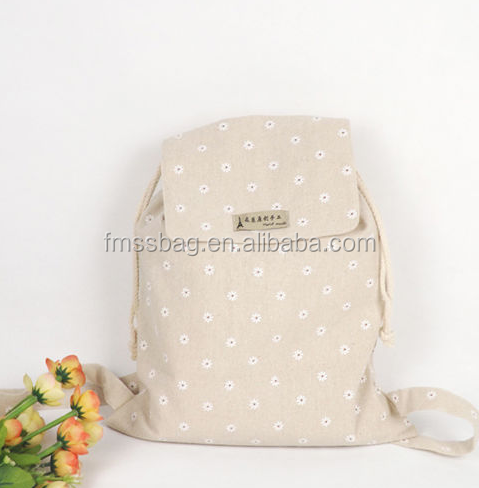 Handmade 100% Cotton Canvas Draw String Backpack Student Book Bag