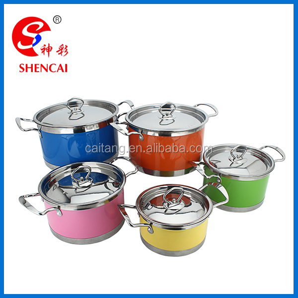 5pcs Color Printed Capsule Bottom Stainless Steel Cookware Set with SS Lid