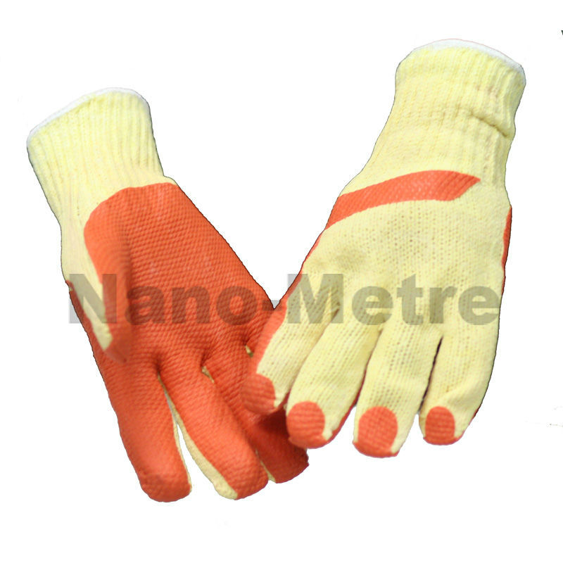 NMSAFETY farming 7 gauge yellow liner laminated orange rubber safety gloves/work gloves