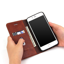 Luxury Leather Case For iPhone 5 6 6s Plus 7 8 8 plus X, Flip Book Case Card Slot Wallet Cover Magnet Business Phone Case
