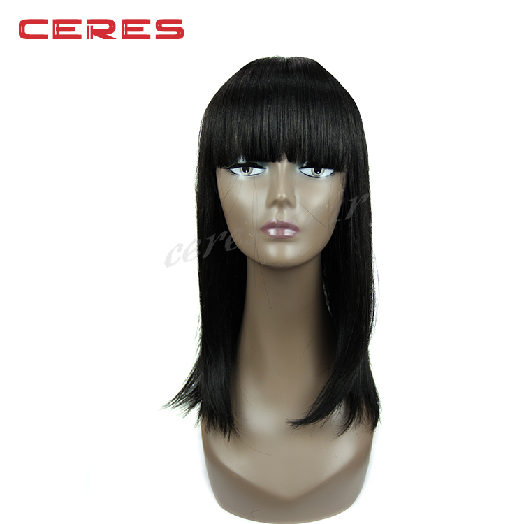 Top quality large stock cheap long straight synthetic wig black women