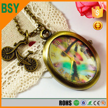 BoShiYa Owl Cheap Pocket Watch necklace with double Quartz Movements, double Dialo