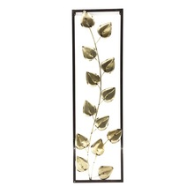 Decorative Light Yellow Leaves with Frame Metal Wall Art