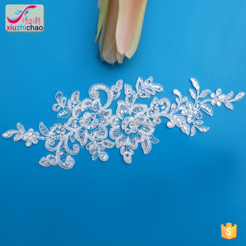 ZP0005-D fancy sequins white embroidery for wedding dress crystal polyester wedding lace applique