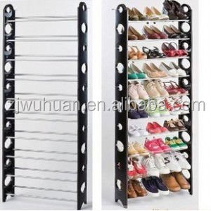 2015 hottest 10 20 30 40 50 pairs DIY folding cheap plastic and iron pipe stacking shoe rack