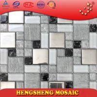 Clear ice crackle with foil mosaic tile glass wall tile AE35