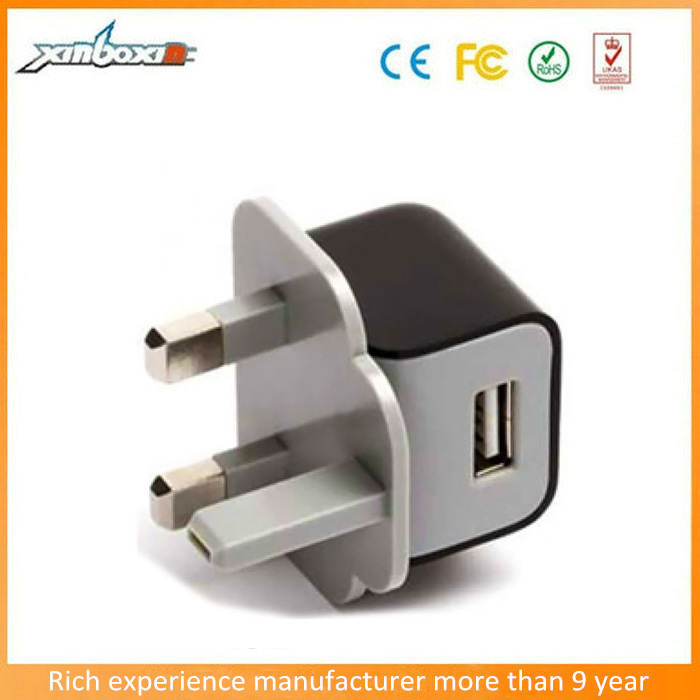 Factory Sell Single USB Port Wall Charger, 3pin USB UK Charger Adapter for Samsung