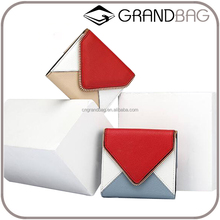 Minimalist Color-block Goat Skin Leather Wallet with Card Slots Fashion Lady Zipper Wallet Mini Coin Purse Wholesale