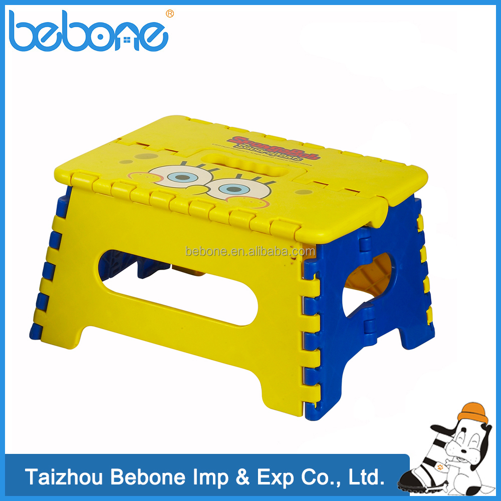 light weight high quality plastic folding step camping stool with printing for kids