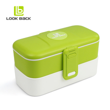 Airtight 2 Compartments PP Lunch Box Food Container