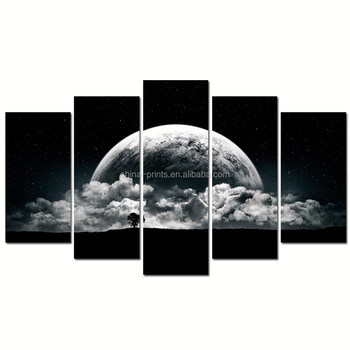 Framed Full Moon Canvas Wall Art/Modern Cloudy Moon in the Night Wall Picture/Starry Sky Landscape Canvas Art