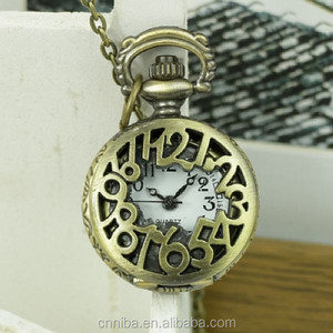 Wholesale Musical instrument Lady gift antique pocket watch with numbers