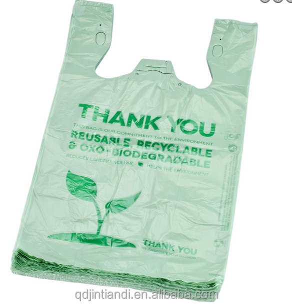 JTD manufacture wholesale custom printed Eco green t shirt disposable biodegradable plastic bags for retail store