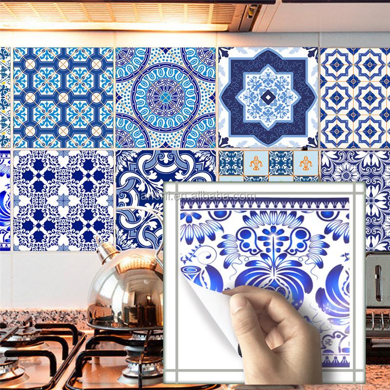 Chinese retro blauw en wit tegels stickers olie proof for Fliesenbilder kuche