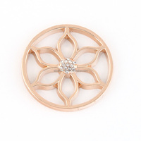 round shape rose gold Lily flower design my coin locket pandant