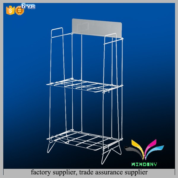 High quality decorative unique durable 2 tiers metal wire commercial cd racks