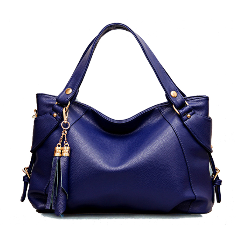 Genuine Leather+PU Bag for Women Shoulder/Crossbody Bags Black/Khaki/Blue/Brown Women Leather Handbags/Tote Bags 2015