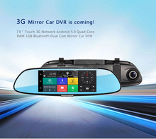 7inch Touch Screen Original 3G Car Rear View Mirror Monitor Black Box Camera with SIM Card C08
