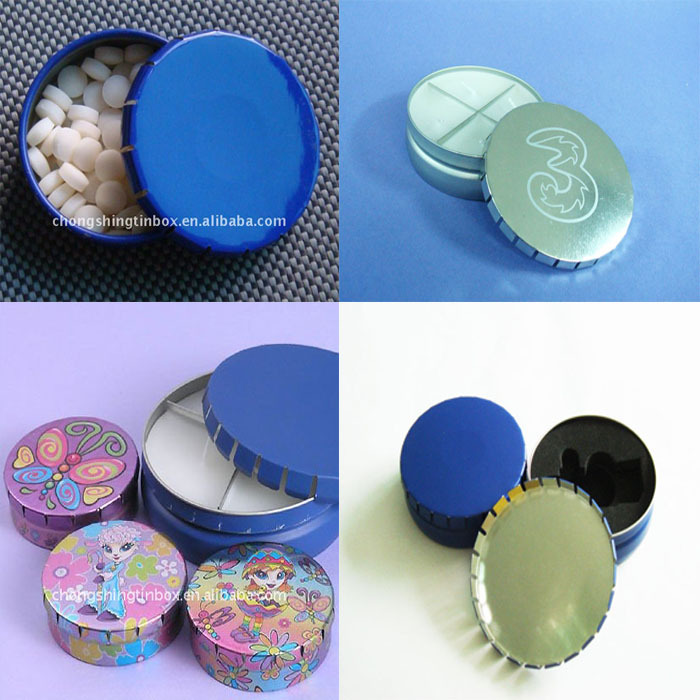 Special round click clock tin box for pills