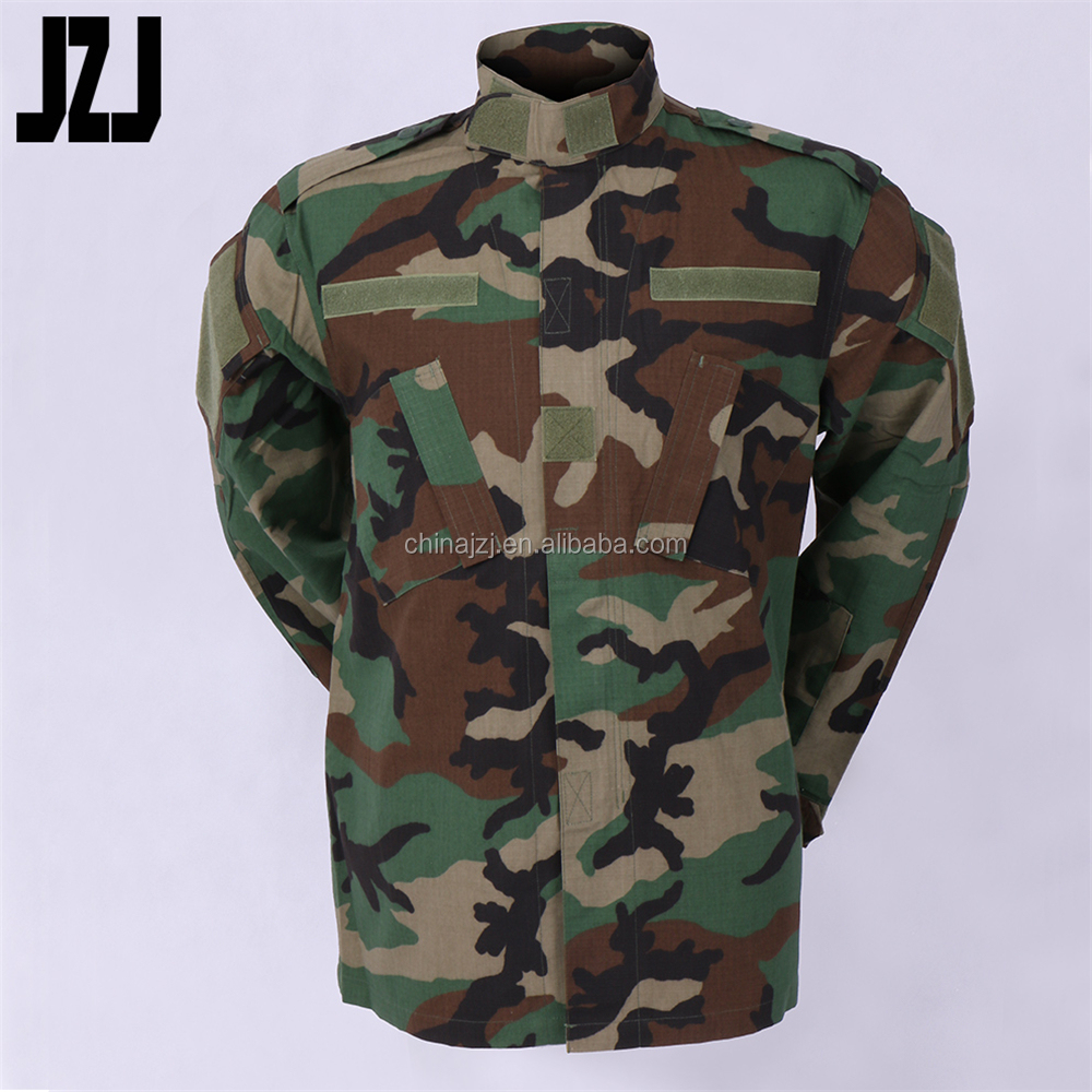 woodland camouflage military uniform shirt and pan