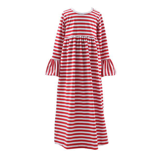 Fashion loose mother and child stripe net dress long sleeve girls party dresses