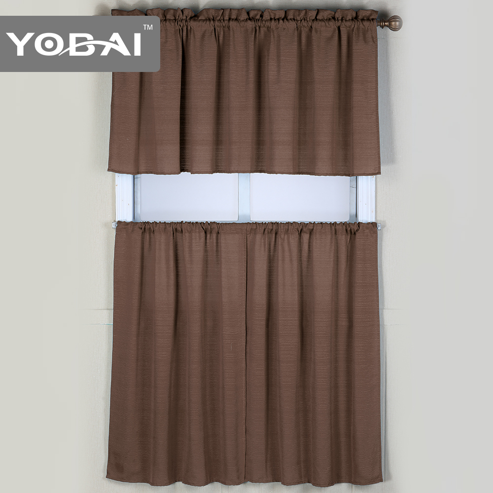 High Quality Fancy Design Plain Kitchen Window Curtains