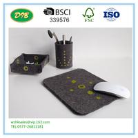 Office Desk Accessories in Gray and Green Felt, Desk Organizer, Office Supplies