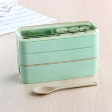100% Food Grade Material Wheat Straw Plastic 3 Layer Kids Bento Lunch Box
