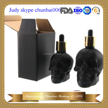 30ml 60ml 120ml skull glass bottles matte black for Tattoo solution with childproof&tamper cap