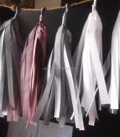 Silver,rose and white color tissue paper garland kit