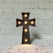 Religious christian gifts metal craft items products symbols wall art decor christian cross of Christ led decorative crosses
