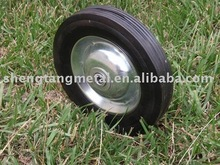 "8"" solid rubber wheel with steel rim"
