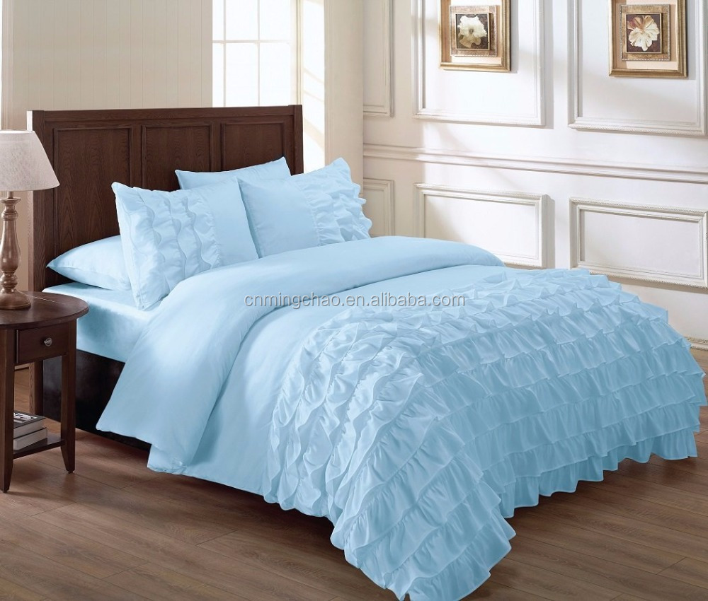 Sky blue frills bed in a bag comforter set