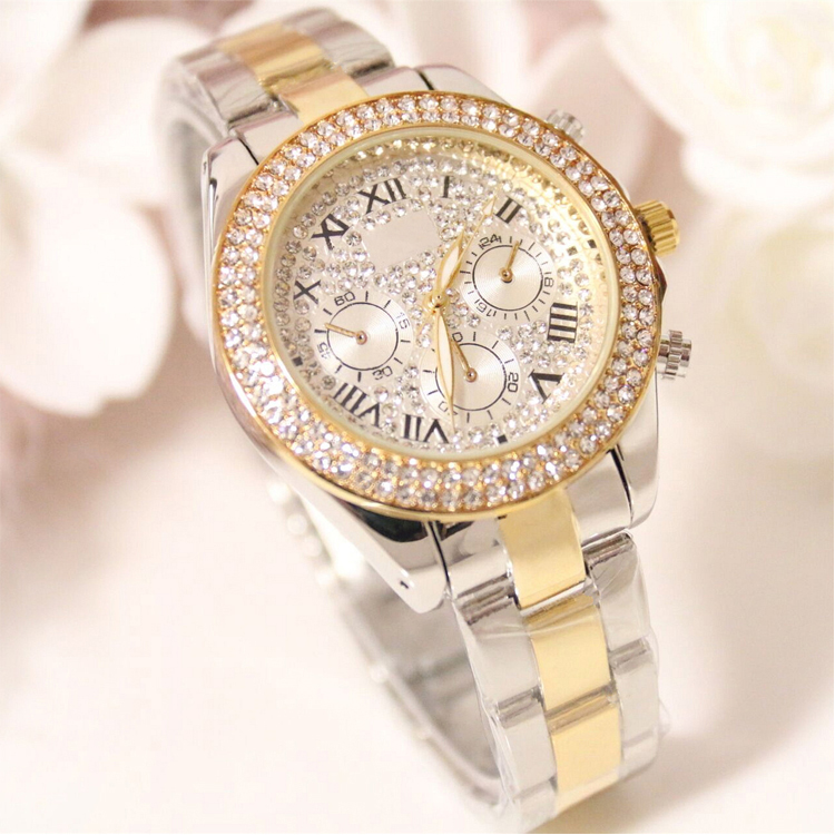 Gold Alloy Diamond Watch Women W146, Manufacturer Since 2001, OEM/ODM Available,