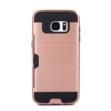 S7E004 TPU+PC Wire Drawing Hybrid Cover Case for Samsung Galaxy S7 Edge Combo Case With Card Slot