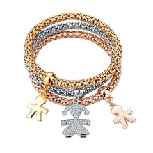 2016Fashionable Three Pieces Bracelets Stackable Little Girls Rhinestone Bracelet For Girls