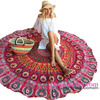 Best Selling Beach Products Peacock Print Red Boho Round Beach Blanket