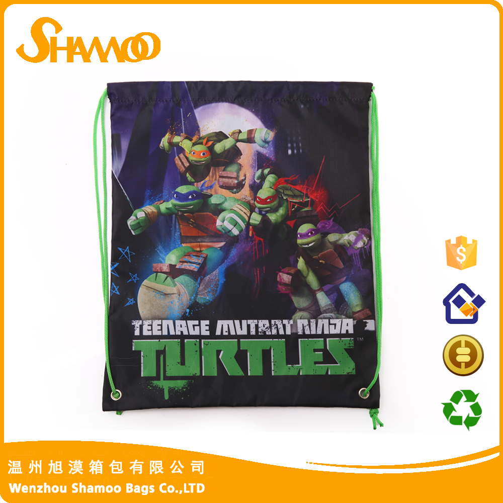 Promotional polyester printed cartoon drawstring bag for kids