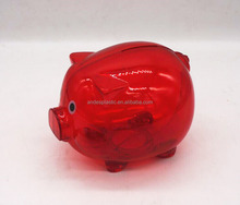 Pig cheap plastic coin clear money box