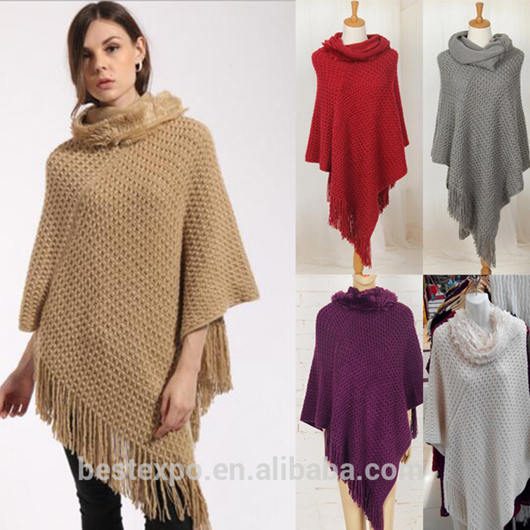 2016 wholesale new fashionable women knit cashmere pullover poncho