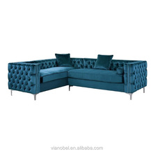 Iconic Home Chic Home Da Vinci Velvet Modern Contemporary Button Tufted with Silver Nailhead Trim Sofa