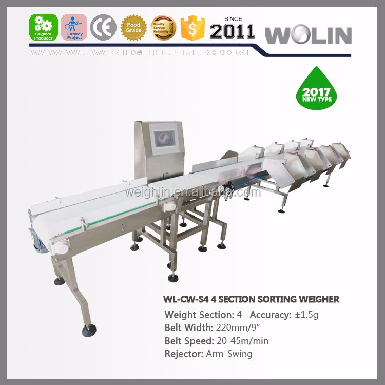 Auto portion package weight checking sorting grading online belt dynamic with over or less weight rejector