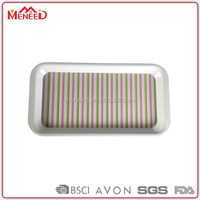 Banquet bbq safe eating 16 inch long rectangle colorful stripe recycle fashional design plate