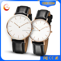 new arrival fashion rose gold Leather man watch quartz stainless steel watch water resistant 5ATM