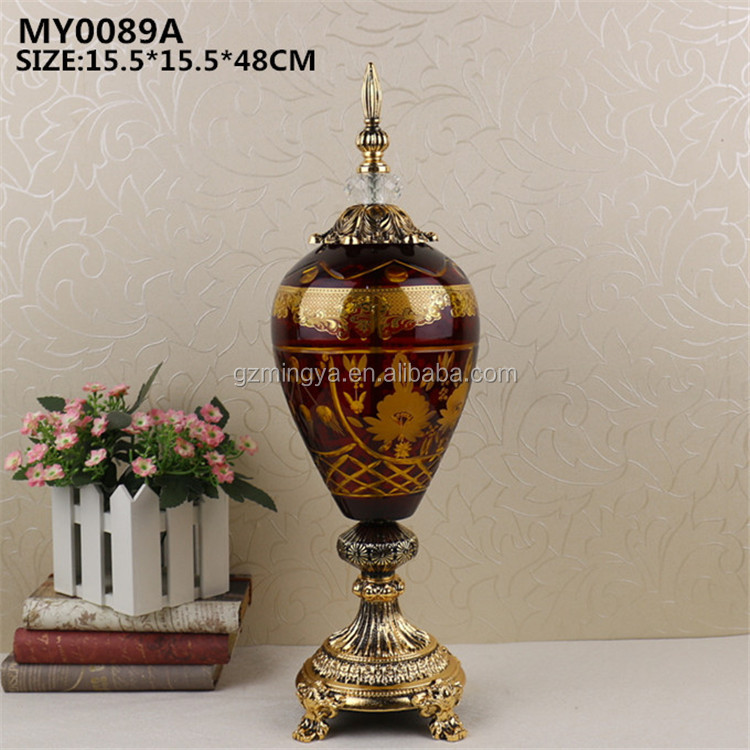 Guangzhou factory Chinese style antique design dark organe glass bottle crafts for home decor