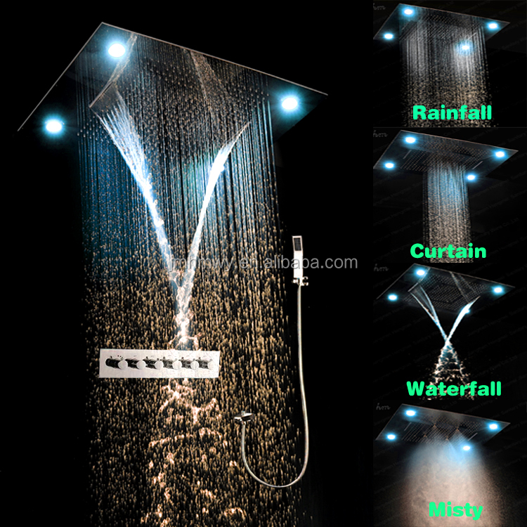 Newest color remote control led light shower embeded ceiling rain shower with waterfall,mist spray,curtain