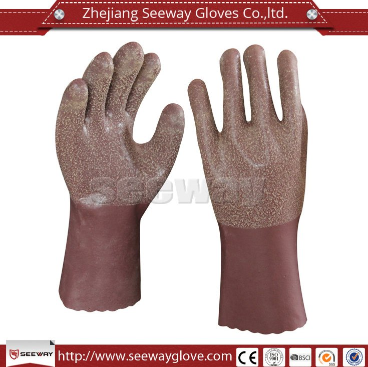 Seeway Long Cotton Lined Brown Latex Household Glove For Kitchen Cleaning And Laundry